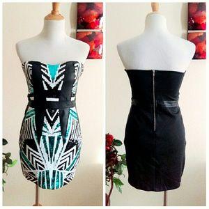 bebe Dresses - Aztec Sequin Tribal Mini Dress